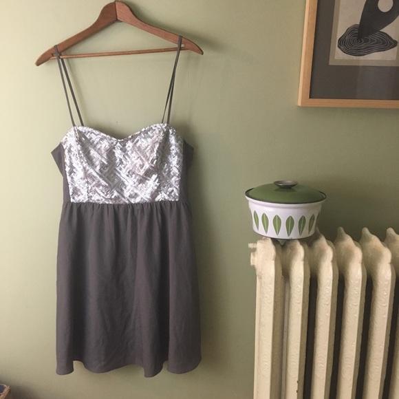 a3425050b347e Divided Dresses   Nwt Silver Sequin Hm Spaghetti Strap Dress Gray ...